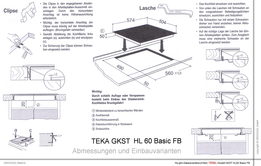 teka gkst 60 hl fb rahmenlos glaskeramik hilight kochfeld cerankochfeld ebay. Black Bedroom Furniture Sets. Home Design Ideas