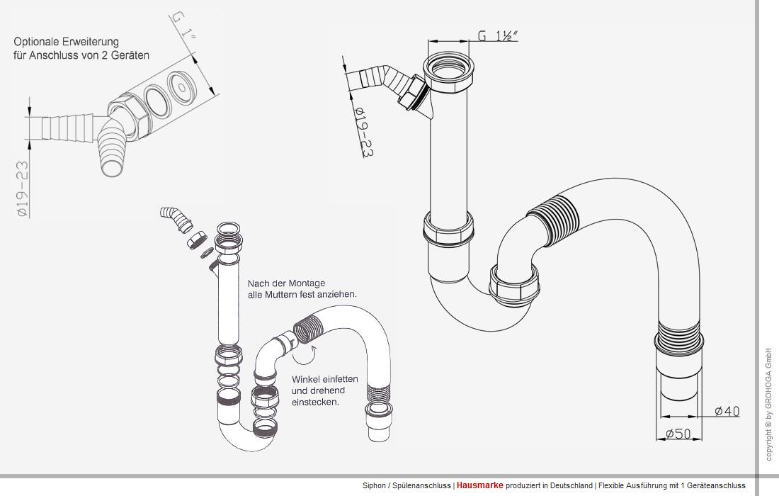 gv rf4050 1g siphon flexibel r hren geruchsverschluss g 1 1 2 x 40 50 mm ebay. Black Bedroom Furniture Sets. Home Design Ideas