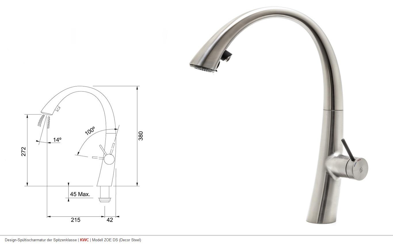 KWC ZOE Decor Steel Armatur Auszugsbrause Wasserhahn Küchenarmatur ...