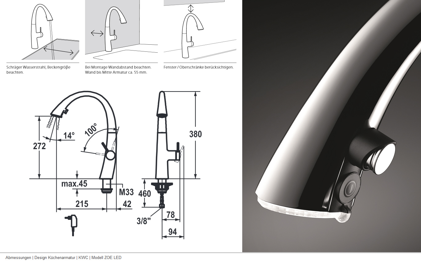 KWC ZOE LED Glacier White 10.201.122.150FL Armatur Auszug Küche ...