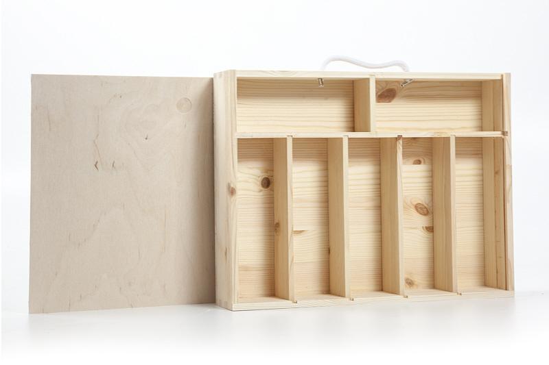 holzfee besteckkasten holzkiste fachteiler deckel griff holzkasten unibox 41 cm ebay. Black Bedroom Furniture Sets. Home Design Ideas