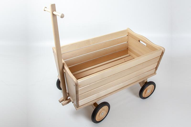 Fabulous HolzFee Kinder Handwagen 70 cm Buchenholz Bollerwagen Spielzeug JE69