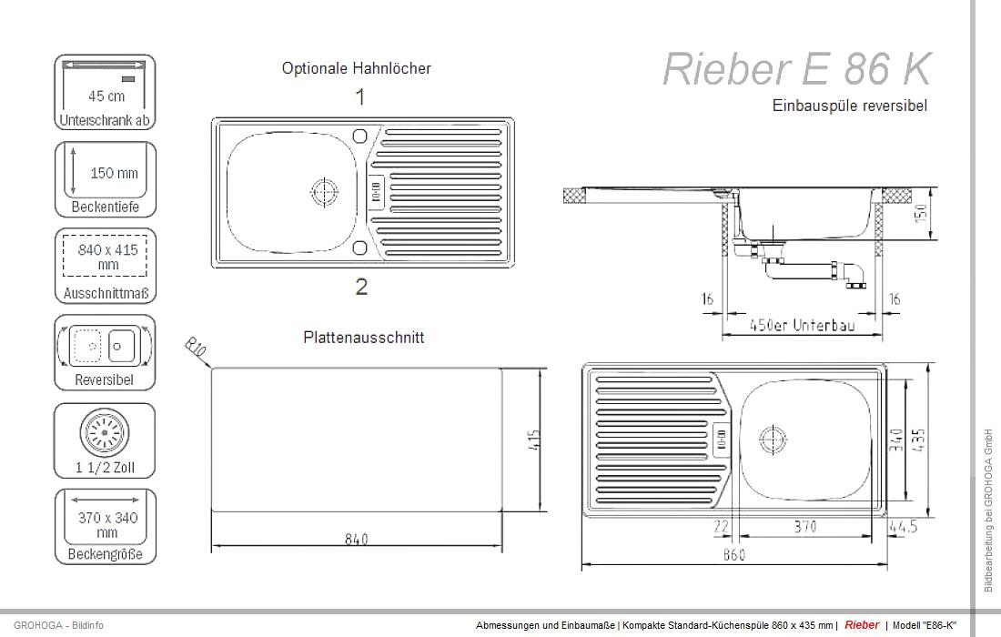 RIEBER SET E 86 K Spüle Edelstahl Einbauspüle Spülbecken Armatur ...