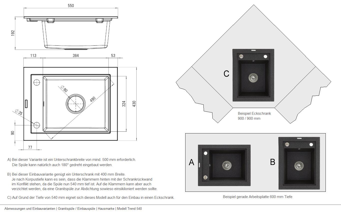 TREND 540 Granitspüle Spüle Spülbecken Einbau Küchenspüle Schwarz ...